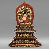 職人による手作りの精巧な木像 工芸美術品 仏像 阿弥陀如来 坐像