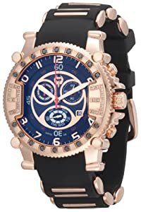Brillier Men's 02.3.3.1.11.04 Grand Master Tourer Signature Rose-Tone Black Rubber Watch by Brillier