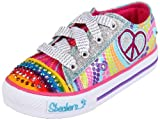 Skechers Youth Shuffles - Heart Sparks Silver/Multi Lighted Trainer 10194L 3 UK