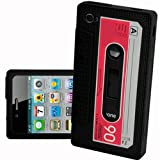 LUPO Retro Cassette Tape Style Silicone Skin Case for iPhone 4, 4S - BLACK