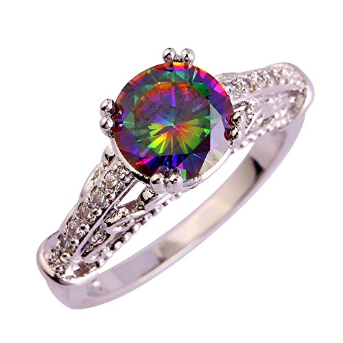Psiroy 925 Sterling Silver Simple Cute Round Cut Rainbow Topaz Cocktail Filled Ring