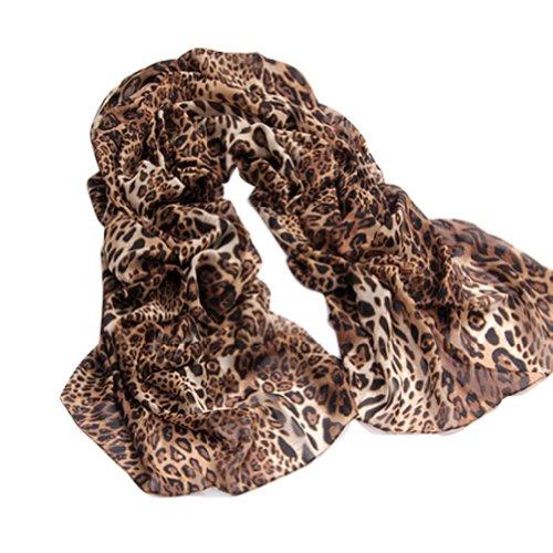 Funoc Sexy Large Animal Leopard Print Chiffon Shawl Scarf Long Stole Wrap