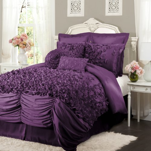 Lush Decor Lucia 4-Piece Comforter Set, California King, Purple front-120141