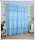 Generic Tulip Tulle Voile Door Window Curtain Drape Sheer Scarf Valance Blue 1x2M