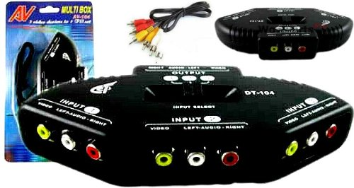 3 to 1 AV Signal Switch Jet Black w/RCA Cables