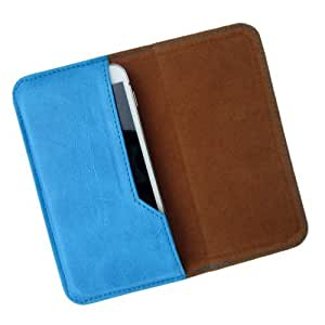 i-KitPit : PU Leather Flip Pouch Case Cover For Lava Iris 450 Colour (SKY BLUE)