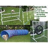 Dog Agility Equipment - Tire Jump, Weave Poles, Single Jump & Tunnel - Beginners Bundle / Package