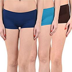 Mynte Women's Sports Shorts (MEWIWCMBP-SHR-105-104-99, Navy Blue, Blue, Brown, Free Size, Pack of 3)