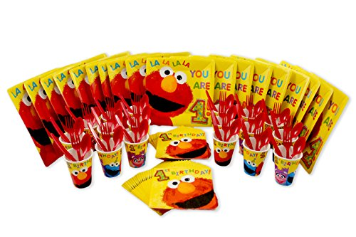 Sesame Street Elmo's First Birthday Lunch Plates, Napkins, Cups, and Forks, Spoons, Knives Set for (Sesame Street Party Big Bird Lunch Napkins)