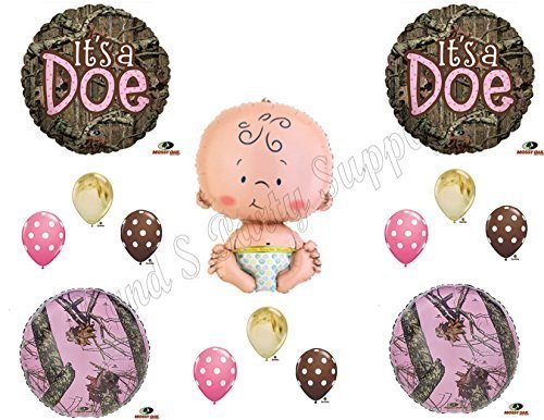 IT'S A DOE CAMOUFLAGE BABY GIRL SHOWER Balloons Decoration Supplies Mossy Oak by Anagram (Pink Camo Baby Shower compare prices)