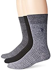 U.S. Polo Assn. Men's 3 Pack Wide Rib Crew Sock, Grey, 10-13/6-12