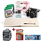 Allcam Bundle Fuji Instax 300 Instant Camera + 60 Shot Film + Panasonic Gold Batteries + Wedding Guest Book, Photo Mount & Pen