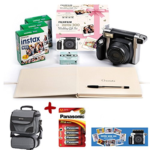 Bundle Fuji Instax 300 Instant Camera + 60 shot Film + Panasonic Gold Batteries + Smart Carry Case + Wedding Guest book, photo mount & pen