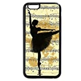 SSCase design Vintage Ballet Sketch music Silhouette Painting Illustration Ballerina Soft Plastic Protected Case for iPhone 6/6s - Black