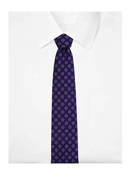 Yves Saint Laurent Men's Ornate Floral Tie, Navy/Purple