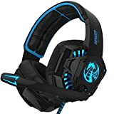 NOSWER I8 Stereo Gaming Headset LED Lighting Headband 3.5mm Over-Ear Headphone with Microphone for PC Computer Laptop EMMETTS (Color: i8 blue, Tamaño: i8 blue)