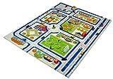 Little Helper IVI - Alfombra de juego 3D, dise�o de centro de la ciudad, 160 x 230 cm, multicolor / azul
