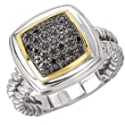 925 Silver & Black Diamond Square Ring with 14k Gold Accents (0.15ctw)- Size 6