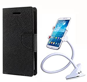 Aart Fancy Diary Card Wallet Flip Case Back Cover For Micromax E311 -(Black) + 360 Rotating Bed Tablet Moblie Phone Holder Universal Car Holder Stand Lazy Bed Desktop for by Aart store.
