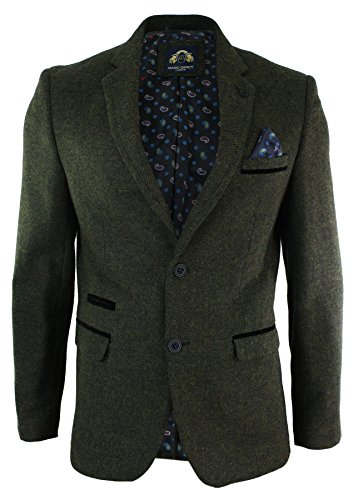 Mens-Herringbone-Tweed-Vintage-Retro-Slim-Fit-Blazer-Jacket-Olive-Green-Black-Velvet-Trim