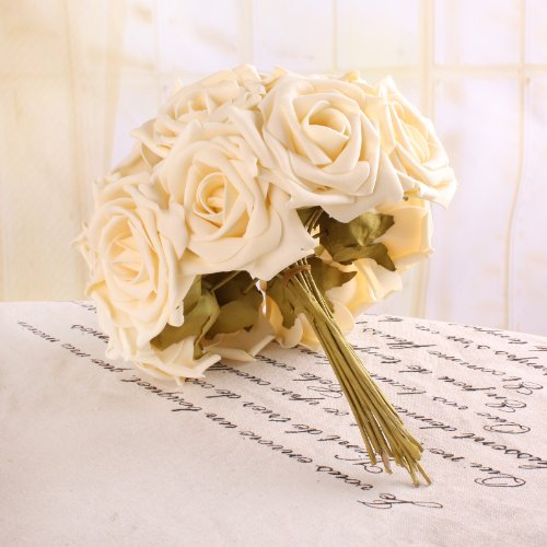 DIY Flower Bouquet-12 Pcs Real Touch Flower Romatic Rose Bridal Bridesmaid Bouquet Wedding Decoration (12 pcs beige)