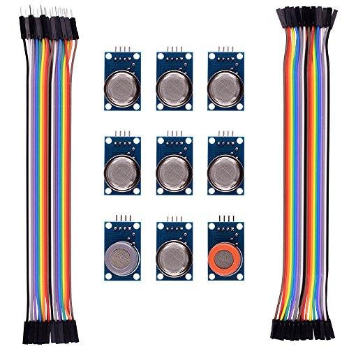Kuman for Arduino Sensor Kits MQ2 MQ3 MQ4 MQ5 MQ6 MQ7 MQ8 MQ9 MQ135 Kit Diy with Jumper Cables K24 (Co2 Propane Detector compare prices)