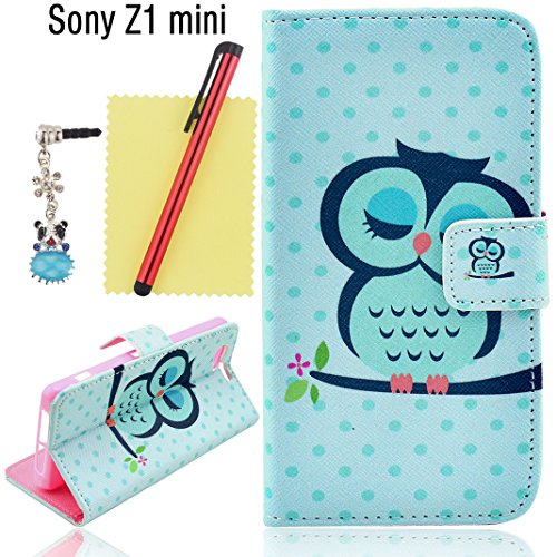 Ancerson Hot Sale Colorful Stylish Printed Magnet Buckle Built-In Credit/ Id Card Wallet Slots Ultra Slim Pu Leather Protective Flip Folio Stand Case Fit For Sony Xperia Z1 Compact D5503/ Z1 Mini/ Z1F (4.3'') Free With A Red Stylus Touchscreen Pen, A 3.5M