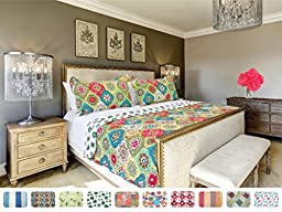 The CONNECTICUT HOME COMPANY Luxury Quilt Collection, Reversible, 3-Piece Set, Top Choice by Decorators, Many Sizes and Patterns, All Season Weight, Machine Washable (Savannah - Queen/Full)