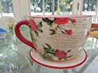 Tea Cup Planters Large 9 Inch Diameter Ceramic Shabby Chic Floral Rose