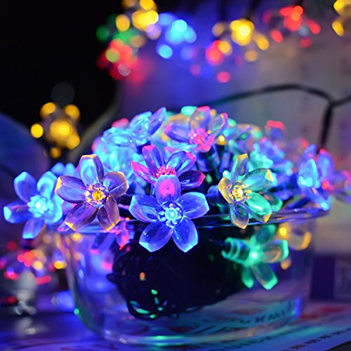 Solar String Lights, EveShine 21ft 50 LED Flower Outdoor Solar Powered Blossom Christmas Lights ...