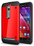 TUDIA Tough OMNIX [Heavy Duty] Hybrid Full-body Protective Case with Front Cover and Built-in Screen Protector for ASUS ZenFone 2 ZE550ML/ZE551ML (Not Compatible with ZE500CL) (Red)