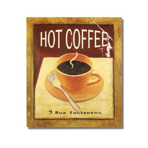 """Adeco Decorative Wood Wall Hanging Sign Plaque """"Hot Coffee"""" Brown, Black, Gold Home Decor"""
