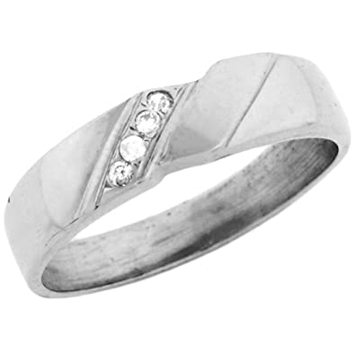 9ct White Gold Mens Ring Wtih Four Round Cut Diagonal Set CZ Accents