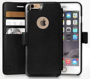 iPhone 6, 6s Wallet Case | Durable and Slim | Lightweight with Classic Design & Ultra-Strong Magnetic Closure | Faux Leather | Black | Apple 6/6s (4.7 in)