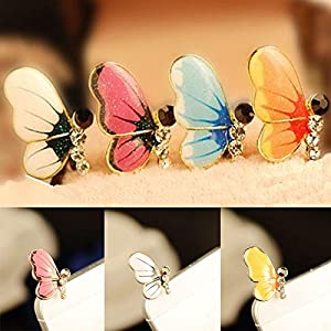 YOUNGFLY Bling Rhinestone Cute Butterfly Anti Dust Plug Cover Charm for Mobile Cell Phone funny amusing
