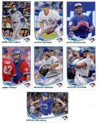2013 Topps Baseball Cards Update Series- Toronto Blue Jays Team MLB Trading Set - 7 Cards: US31 Edwin Encarnacion AS US96 Mark DeRosa US190 Steve Delabar US258 Jose Bautista AS US272 Josh Thole US287 Brandon Morrow US288 Maicer Izturis