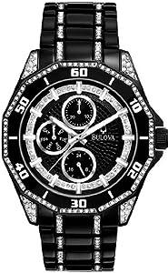 Men Bulova 98C111 Black Stainless Steel Quartz Black Dial Crystals