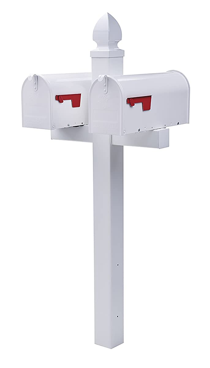Gibraltar Mailboxes Whitley 4x4 Rust-Proof Plastic White,Cross-Arm Mailbox Post, WP000W01