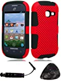 Samsung S738c Galaxy Centura S730G Mesh Case Red Design Snap on Hard Shell Cover Protector Faceplate AND TrustedSellers(TM) Stylus, Guitar Pick/Pry Tool