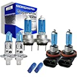 55w Super White Xenon High (main) / Low (dipped) / Fog / Side beam upgrade HeadLight Bulbs PEUGEOT 207 CC 16V 02.07->