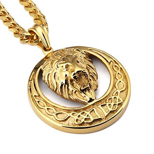 nyuk da uomo testa di leone Hip Hop ciondolo collana lunga in oro/argento/nero, Lega, colore: Gold, cod. W-1933