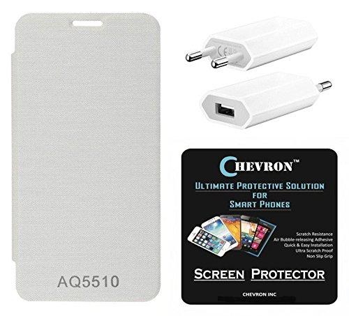 Chevron Flip Cover With Chevron HD Screen Guard & Mobile Wall Charger for Micromax Yu Yureka AO5510 (White)