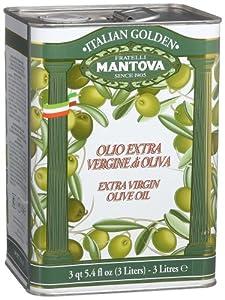 Mantova Golden Italian Extra Virgin Olive Oil, 102-Ounce Tins (Pack of