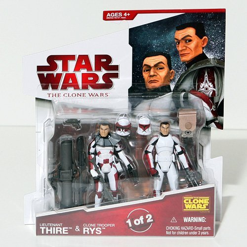 Buy Low Price Hasbro Star Wars 2009 Clone Wars Animated Action Figure 2-Pack Lieutenant Thire and Clone Trooper Rys (B002NWBSVI)