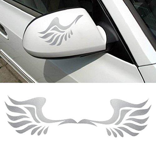 Tonsee Mode Auto Flügeldesign 3D Dekoration Aufkleber für Auto Seite Spiegel Rearview (weiß)