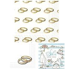 buy She Said Yes Napkins With Gold Wedding Ring Napkins