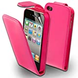 Supergets Apple Iphone 4 , 4s Pink Top Flip Leather Case With Card Holder,Screen Protector And Polishing Cloth