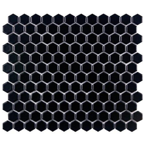 Retro Hex Matte Black 10 1/4 x 11 3/4 Inch Porcelain Floor & Wall Tile (10 Pcs/8.4 Sq. Ft. Per Case, $1 Standard Shipping)