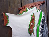 Hilason Pro Rodeo Bronc Bull Riding Show Smooth Leather Chaps White Green Silver by HILASON