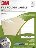 3M Recycled File Folder Labels For Laser/Inkjet Printers, White, 2/3 x 3 7/16 Inches, 50 Sheets per Pack (3700-F)